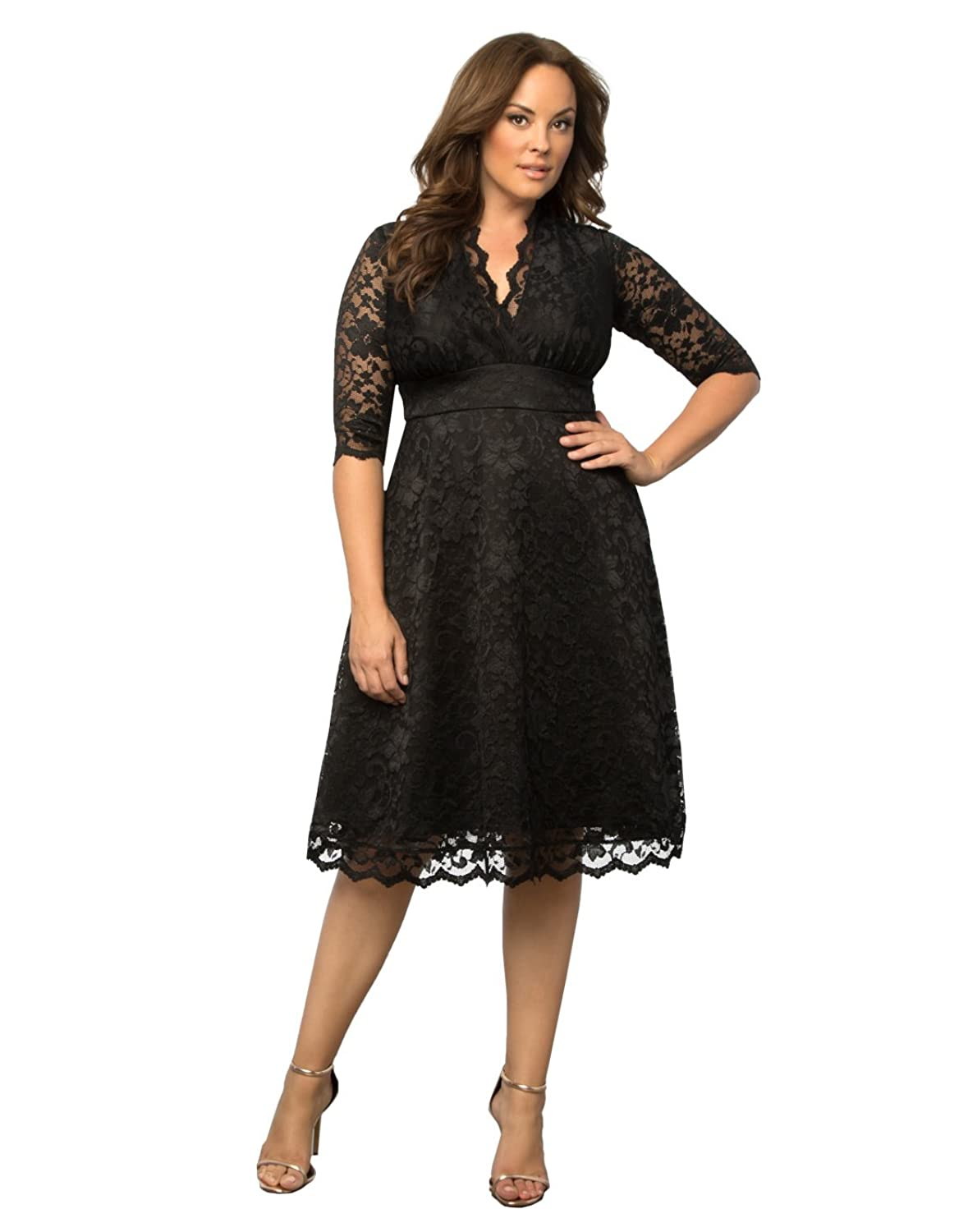 Plus Size Vintage Dresses, Plus Size Retro Dresses Kiyonna Womens Plus Size Mademoiselle Lace Dress $164.00 AT vintagedancer.com