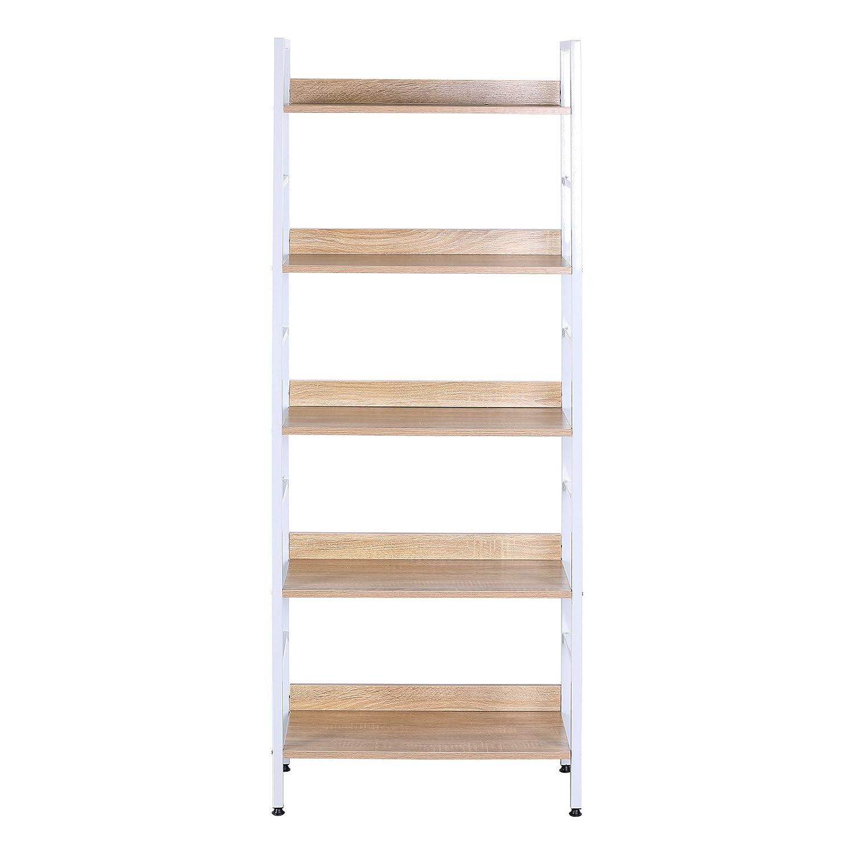 Amazon.com: WOLTU Wood Bookcases and Book Shelves 5 Shelf White ...