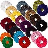 Ondder 22 Pack Velvet Scrunchies Hair Bobble Elastics Hair Scrunchy Hair Bands Headbands Women Scrunchies Soft Bobbles Hair Ties, 22 Colors