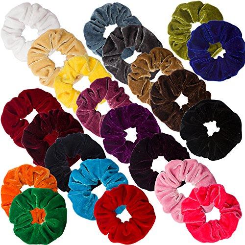Ondder 22 Pack Velvet Scrunchies Hair Bobble Elastics Hair Scrunchy Hair Bands Headbands Women Scrunchies Soft Bobbles Hair Ties, 22 Colors by Ondder