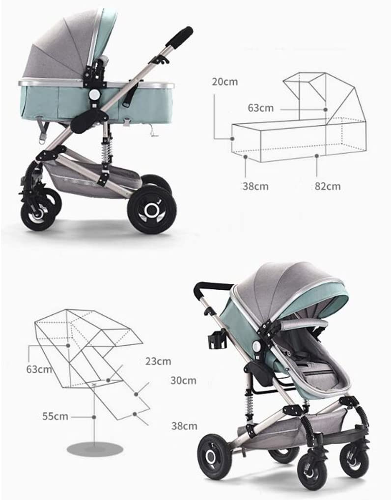 PLDDY Prams 3-in-1 Stroller Multi-Function Two-Way High Landscape Sitting and Lying Folding Portable Shockproof Travel Baby Carriage Color : Brown