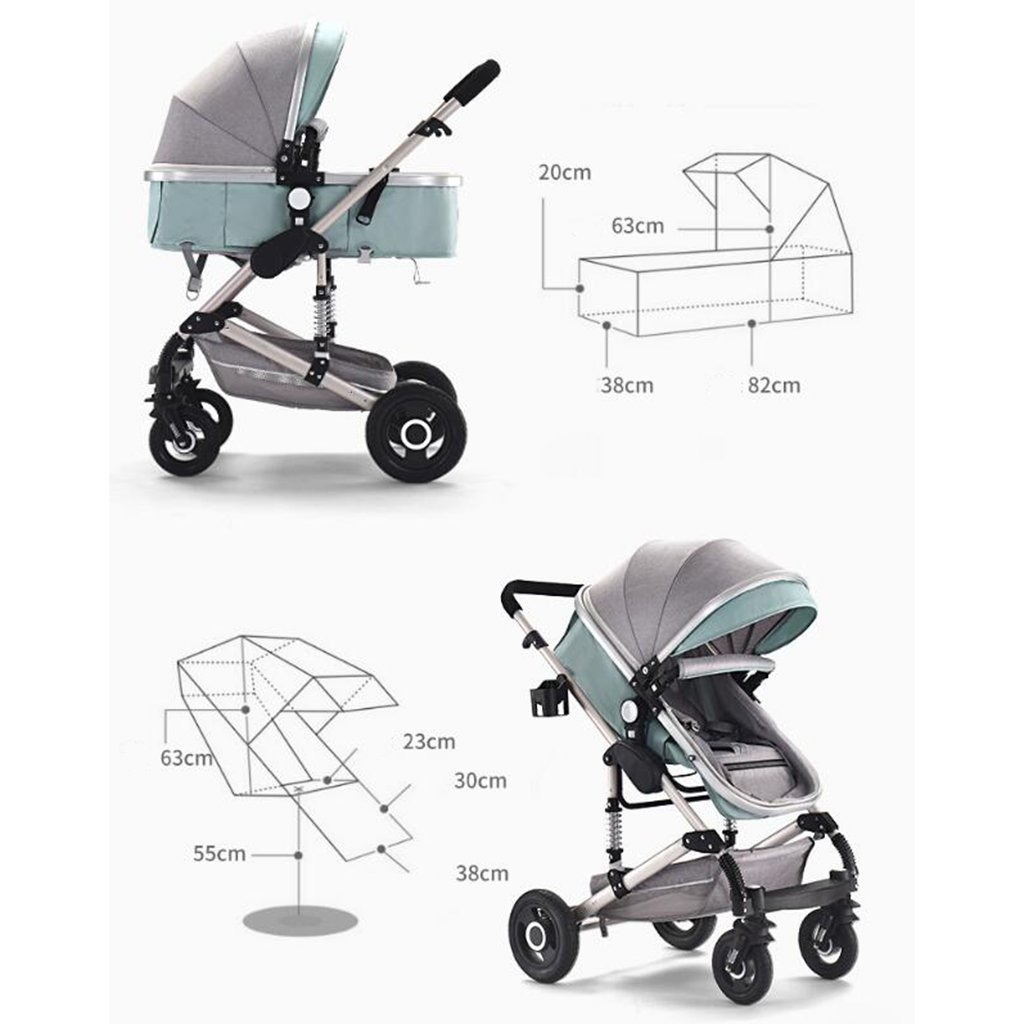 Multi-Function Two-Way High Landscape Sitting and Lying Folding Portable Shockproof Travel Baby Carriage MAOSF Pushchairs 3-in-1 Stroller Color : Brown