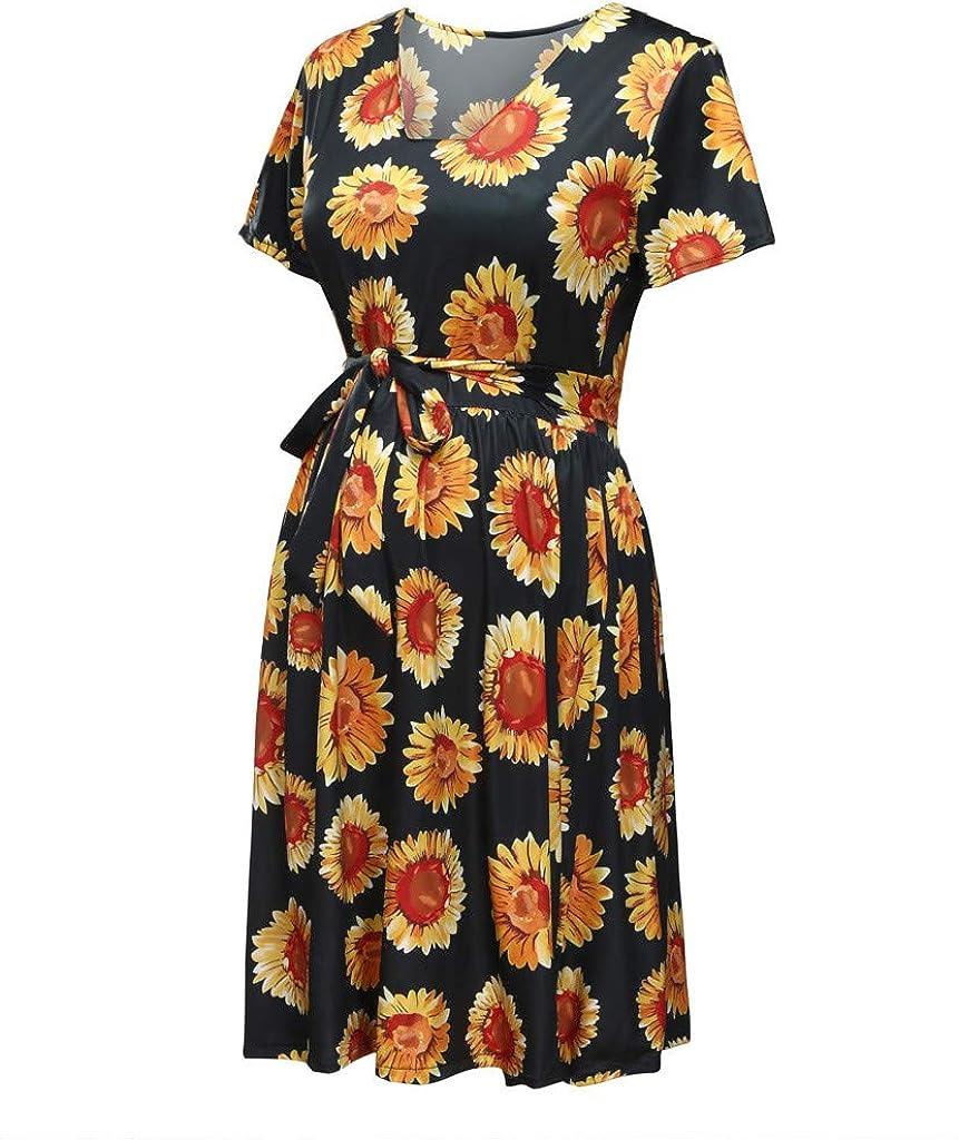 Women Maternity Mini Dress Sunflower Print Breastfeeding Dress Pregnancy Swing Dress with Belt Maternity Length Dress Clothes