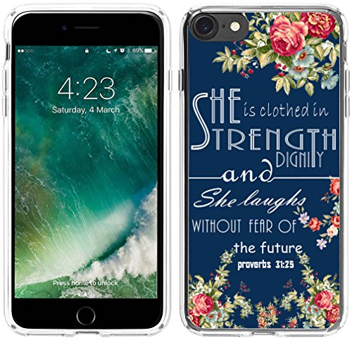 8 Case,7 Case Christian Sayings,Hungo Soft TPU Silicone Protective Cover Compatible with iPhone 7/8 Bible Verses Theme Proverbs Sayings for Girls