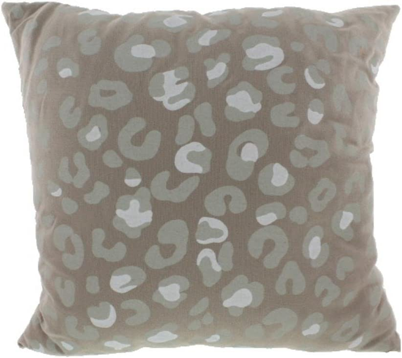 Martha Stewart Linen Blend Leopard Print Decorative Pillow Beige
