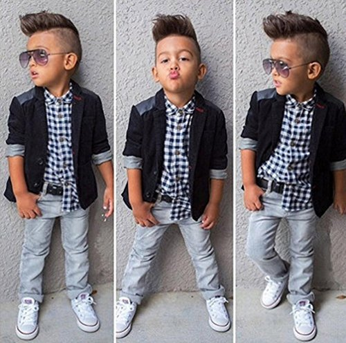 Baby Boy's Clothes, Mchoice 1Set Kids Boys Business Suit+Shirt Tops+Trousers Children Clothes Outfits (6~7 Years old, Black) by MChoice (Image #1)