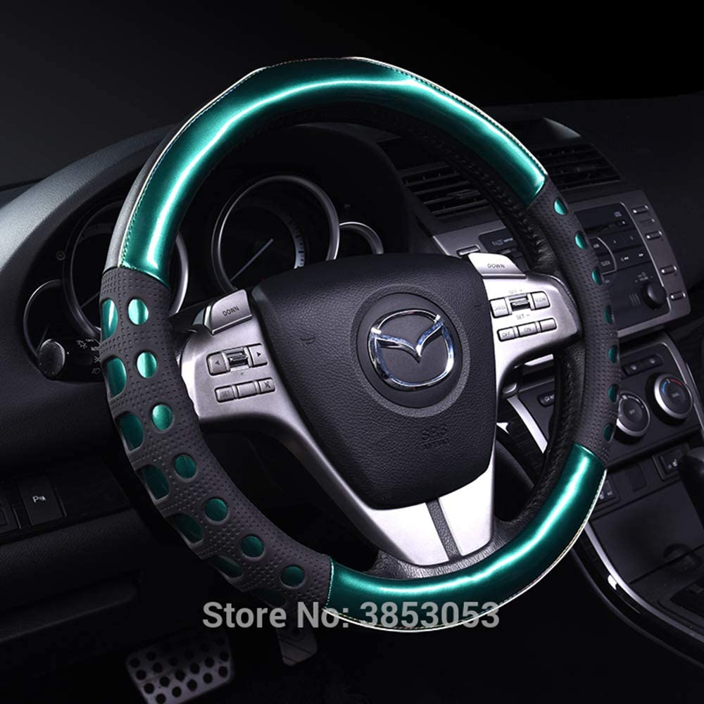 GGOII Lenkradabdeckung Carbon Leder Universal Fit Anti-Rutsch-Auto Lenkradbezug f/ür Land Cruiser Nissan BMW Benz