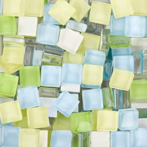 300 Pieces Mixed Color Mosaic Tiles Mosaic Glass Pieces for Home Decoration or DIY Crafts, Square 1x1cm (Green Yellow)