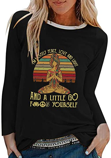 I/'m Mostly Peace Love and Light and A Little Go F Yours Yoga Vintage Men T Shirt