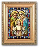 HolyFamily Stained Glass Art Gold Colored Frame 5x7 Holy Family