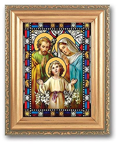 Bertof HolyFamily Stained Glass Art Gold Colored Frame 5x7 Holy Family ()