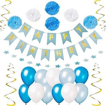 Amazon.com: Decoraciones fiesta cumpleaños - azul, blanco y ...