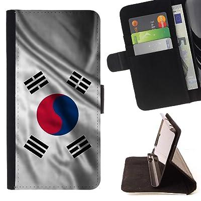 FJCases Corea del Sur Coreano del Sur Bandera Ondeante Carcasa Funda Billetera con Ranuras para Tarjetas y Soporte Plegable para Sony Xperia L1