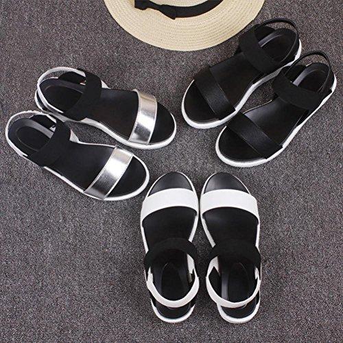 Omiky® 2017 Damen Sommer Sandalen Schuhe Peep-Toe Low Schuhe Römische Sandalen Damen Flip Flops Silber