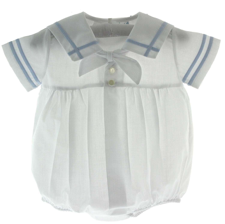 Baby Boys White /& Blue Sailor Bubble Outfit