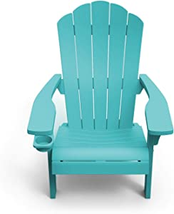 Outdoor Patio Garden Deck Furniture Resin Adirondack Chair with Built-in Cup Holder (Teal)
