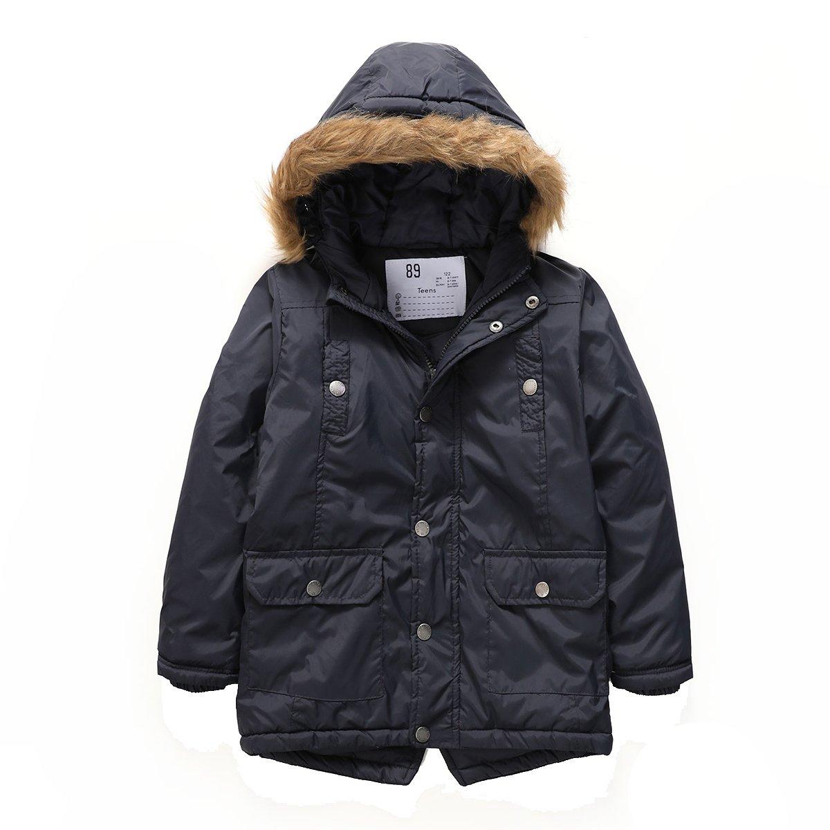 PHIBEE Boys' Winter Windproof Cotton Faux Fur Hooded Parka Jacket