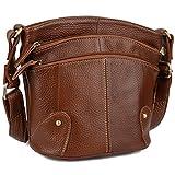 YALUXE Women's Cowhide Genuine Leather Multi Zipper Mini Purse Small Crossbody Shoulder Bag Brown