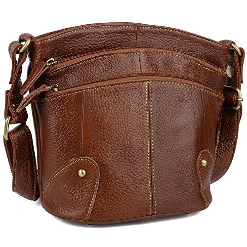 YALUXE Women's Cowhide Genuine Leather Multi Zipper Mini Purse Small Crossbody Shoulder Bag Brown by YALUXE