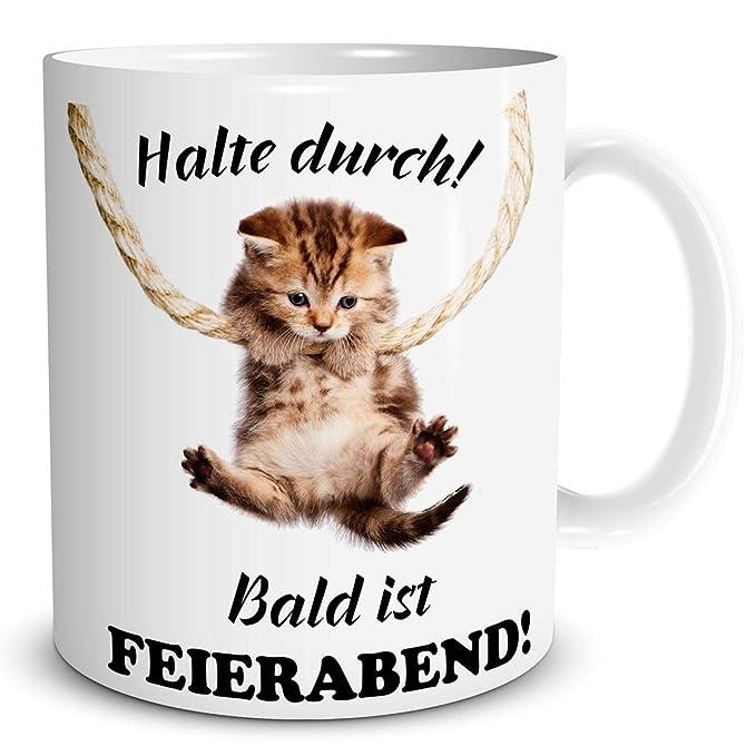 Triosk Tasse Mit Katzenmotiv Und Lustiger Spruch Katze Halte Durch