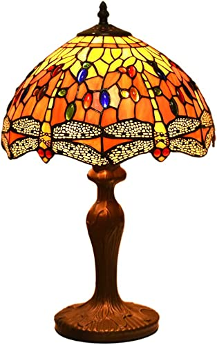 Tiffany Style Lamps Dragonfly Table Desk Light 18 Inches Tall Stained Glass 12 Inches Wide Lamp Shade Vintage Antique Victorian Lamp for Living Bedside Coffee Room College Dorm