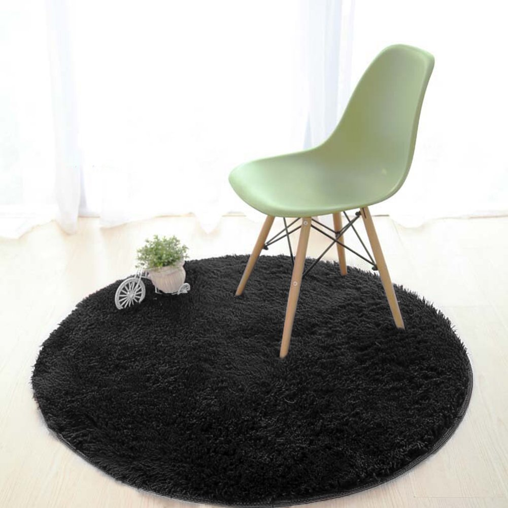 Lee D.Martin Children Area Rugs Ultra Cozy Round Rugs Kids' Room Décor Carpets Modern Shaggy Area Rugs Anti-Slip Backed Home Décor Rug,Diameter 47.3 inches,Black