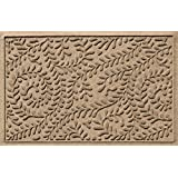 Bungalow Flooring Waterhog Doormat, 2' x 3', Skid Resistant, Easy to Clean, Catches Water and Debris, Boxwood Collection, Khaki/Camel