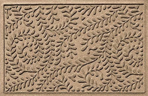 Bungalow Flooring Waterhog Indoor/Outdoor Doormat, 2' x 3', Skid Resistant, Easy to Clean, Catches Water and Debris, Boxwood Collection, Khaki/Camel