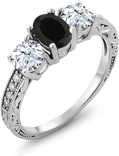 gemstone ring sterling silver ring ring size 9 Silver 925 ring size S zircon band ring black zircon women ring black stone ring