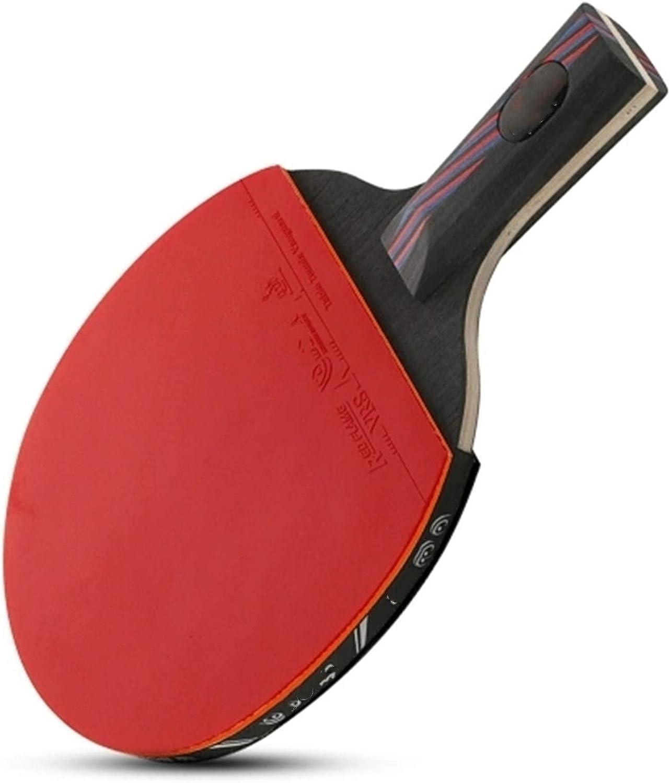Paleta de Ping Pong 1 unids de Nivel de Rendimiento Tabla de Tenis Raqueta aprobada por Paloma de Goma Pong Se Dan la Mano Grips (Color : Red, Size : Short Handle)