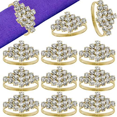 Getfitsoo Napkin Ring,Napkin Holder for Wedding Christmas Party Dinner Table Decor 12 Pcs (Gold Diamond) ()
