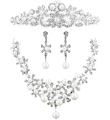 30e1aadbe5266 カチューシャ ティアラ ウェディング ネックレス イヤリング 3点セット ヘアアクセサリー 髪飾り 結婚式 花嫁 レディース