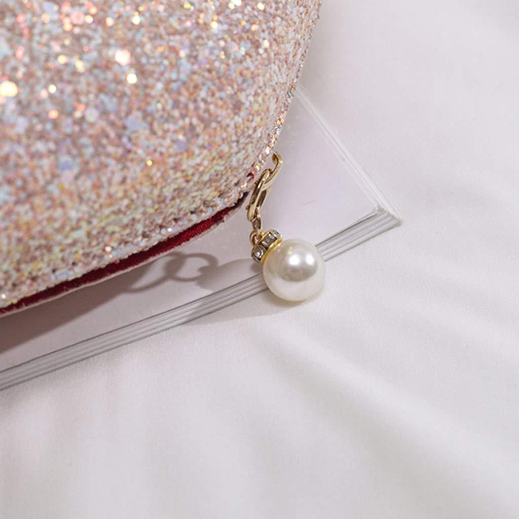 Color : Light Pink, Size : 19x17x7cm Pearl Zipper Shell Pouch Cute Chain Shoulder Messenger Bag Light Pink Sequins Elegant and Unique Banquet Bag