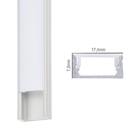 Perfíl de Aluminio para LEDS - Difusor Opal -Tira de 2 Metros