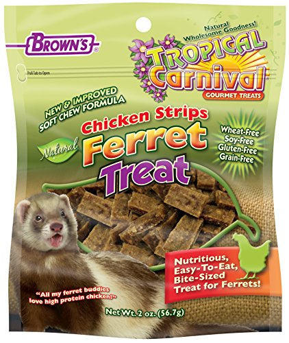 F.M. Brown's Tropical Carnival Natural Chicken Strips Ferret Treat made with Real Chicken, Easy-To-Eat, Bite-Size, 2oz