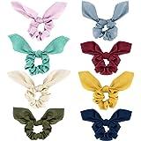 Lewondr Hair Scrunchies, [8 PACK] Satin Hair Bands with Bow Soft Bunny Ear Scrunchies Elastic Hair Ties Bowknot Ponytail…