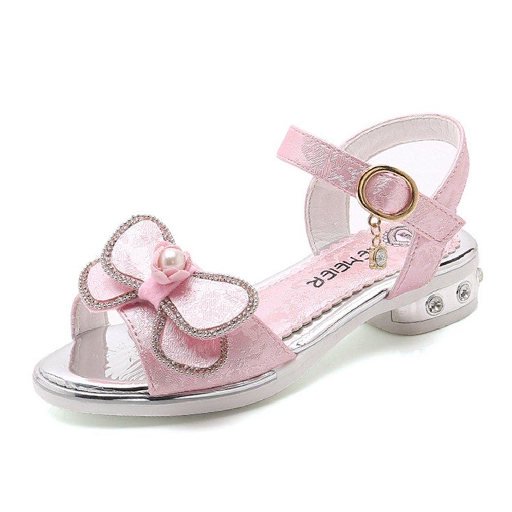 Toddler//Little Kid CYBLING Girls Bowknot Open Toe T-Strap Hook and Loop Low Cut Low Heels Sandals