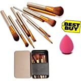 Generic Makeup Brush Set of 12 with storage box with sponge puff (color may vary)