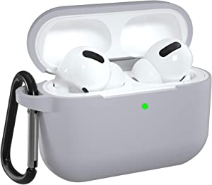 DGege Silicone Case Cover Compatible with Apple AirPods Pro, Protective Case with Carabiner for Airpods 3 (Front LED Visible), Gray