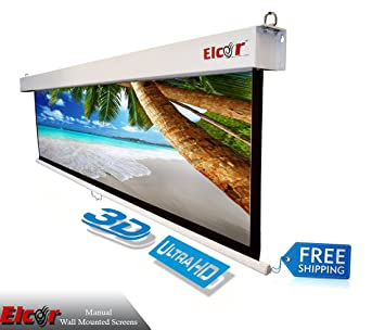 ELCOR Wall Type Spring Action Projector Screen 6ft. x 8ft.-120″ Diag. Projection Screens at amazon