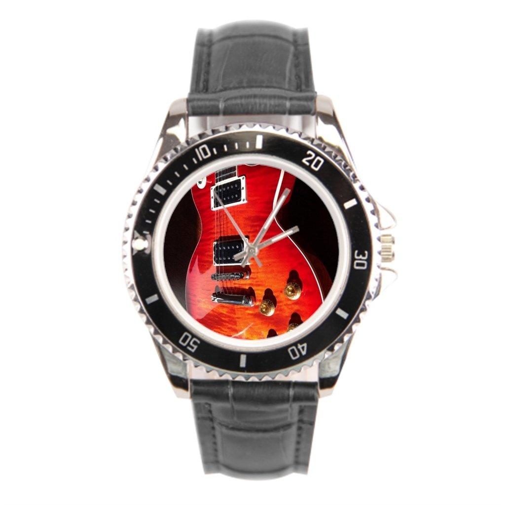findself Hombres Rojo de la guitarra eléctrica guitarra vintage reloj de pulsera correa reloj de piel: Amazon.es: Relojes
