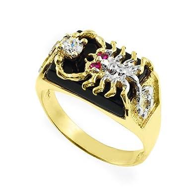 7ea67e156480a 14K Gold Men's Black Onyx Scorpion Ring with Cross (14.5) Amazon.com