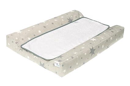 Funny Baby 608660 - Colchón para cambiador bebé, diseño estrellas, 53 x 80 cm, color gris