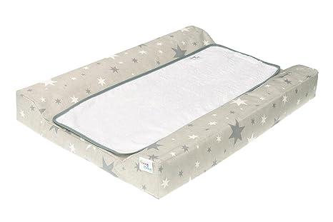 Funny Baby 608650 - Colchón para cambiador bebé, diseño estrellas, 48 x 70 cm, color gris