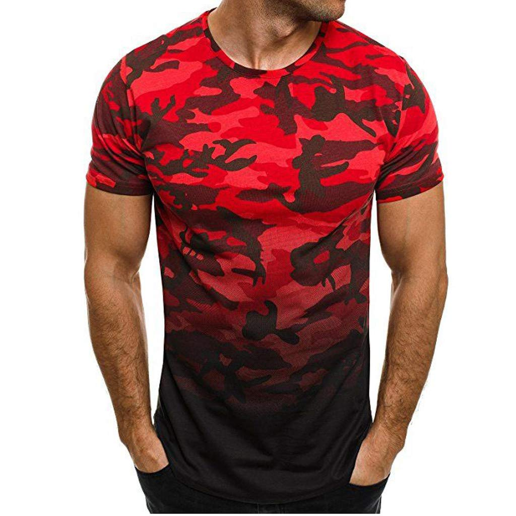 TIMEMEAN Fashion Mens Summer Gym Sports Runing Fitness Army t-Shirt Casual Short Sleeve camo t-Shirt dad Top Blouse Red 4XL