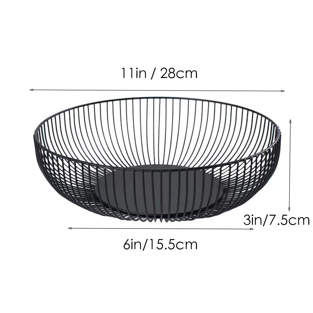Bread Storage Bowl Holder Stand for Kitchen Counter Round Black Metal Fruit Vegetable Large Cabinet and Pantry Wire Fruit Basket Egg