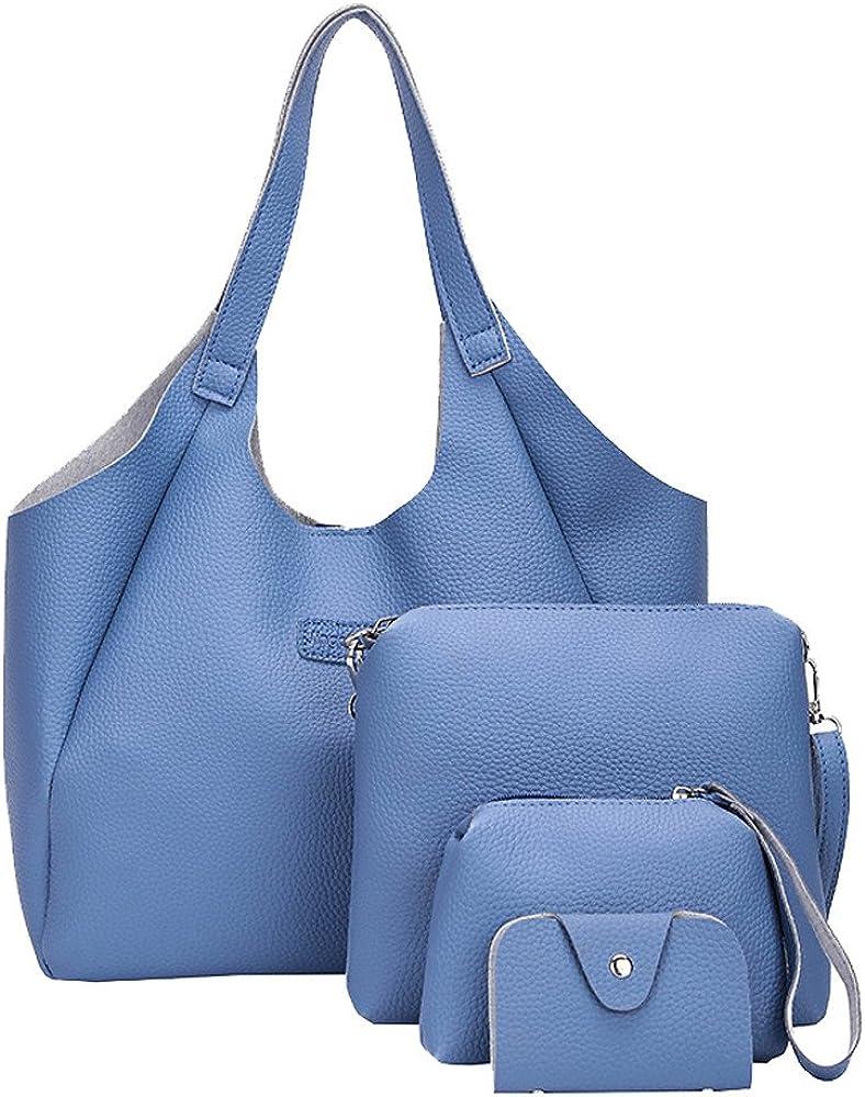 Shoulder Bags Crossbody Bag Wallet Purse Soft PU Leather Top Handle Bags Set 4 Pack Women Handbag Set Tote Bag
