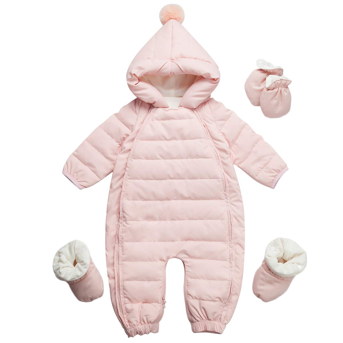 famuka Baby Winter Warm Down Snowsuits Solid Color Hooded Puffer Outwear (Pink, 9-12 Months) by famuka