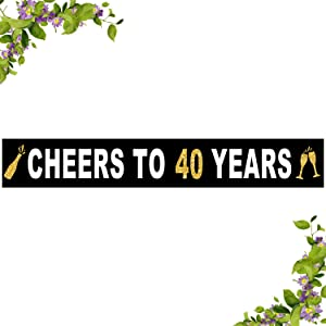 Large Cheers to 40 Years Banner, Black and Gold Forty Birthday Flag, 40th Birthday Party Outdoor Decoration (9.8 x 1.6 feet)