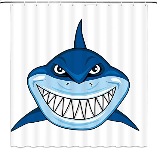 Amazon.com: Feierman Funny Cartoon Shark Shower Curtain Decor Blue ...